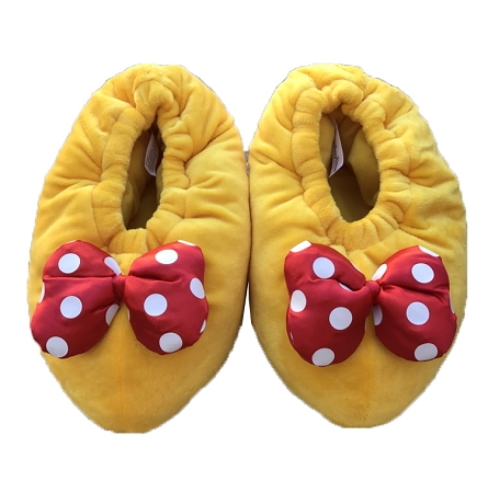 759ede883b2 Disney Slippers for Women - Plush Minnie Mouse Shoes - Yellow