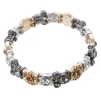 Disney Stretch Bracelet - Mickey Icon Crystal - Gold and Silver