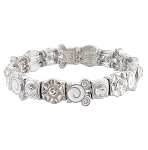 Disney Stretch Bracelet - Mickey Swirl Icon - White and Silver