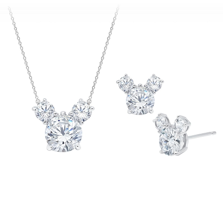 Disney CRISLU Necklace & Earrings Set - Mickey Mouse - Platinum