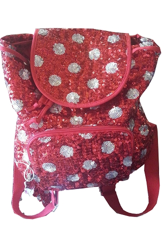 Disney Backpack Bag - Minnie Mouse Polka Dots - Sequined Red