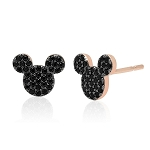 Disney CRISLU Stud Earrings - Mickey Mouse Black Pave - Rose Gold