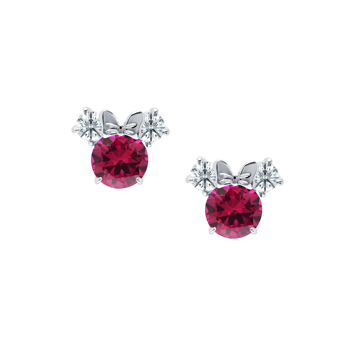Disney Crislu Earrings - Minnie Mouse Birthstone - Platinum