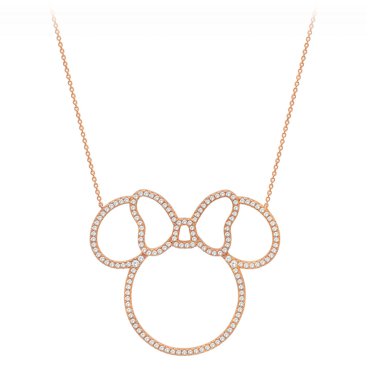 Disney Crislu Necklace - Minnie Mouse Pavé Icon Outline - Rose Gold
