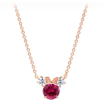 Disney Crislu Necklace - Minnie Mouse Birthstone - Rose Gold