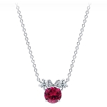 Disney Crislu Necklace - Minnie Mouse Birthstone - Platinum