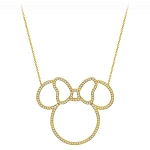 Disney Crislu Necklace - Minnie Mouse Pavé Icon Outline - Gold