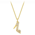 Disney Crislu Necklace - Cinderella Pavé Slipper - Gold