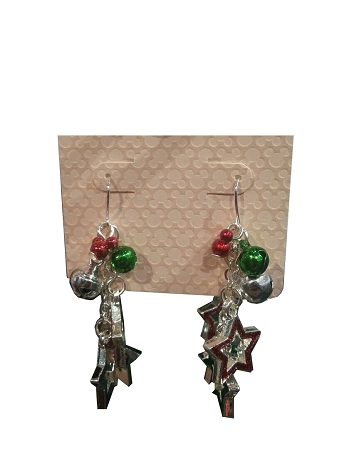 Disney Dangle Earrings - Christmas - Mickey Mouse Icon, Stars and Bell