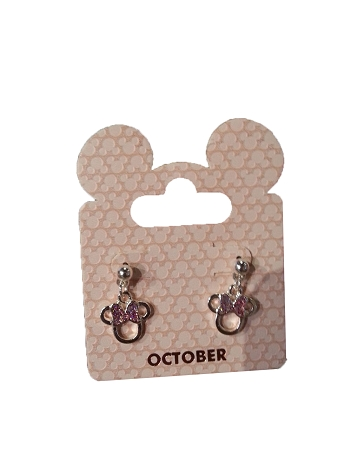 Disney Dangle Earrings - Minnie Mouse Birthstone Bow