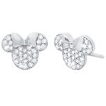 Disney CRISLU Stud Earrings - Minnie Mouse Icon - Silver