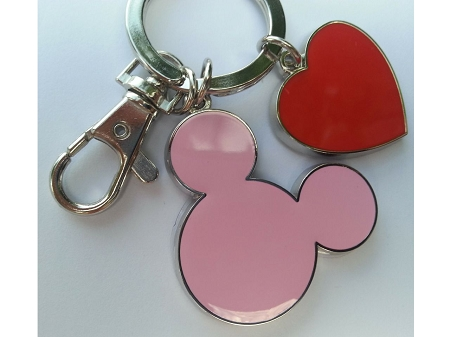 Disney Keychain - Mickey Mouse and Heart Charms - Metal