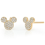 Disney CRISLU Stud Earrings - Mickey Mouse Icon - Yellow Gold