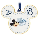Disney Disc Ornament - Dated 2018 - Mickey Icon - Walt Disney World