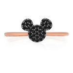 Disney CRISLU Ring - Mickey Mouse Black Pave - Rose Gold