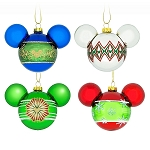 Disney Christmas Ornament Set - Mickey Icons and Snowflakes - Set of 4