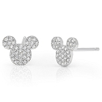 Disney CRISLU Stud Earrings - Mickey Mouse Icon - Platinum
