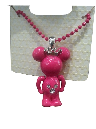 Disney Necklace - Minnie Mouse Figurine with Crown - Pink