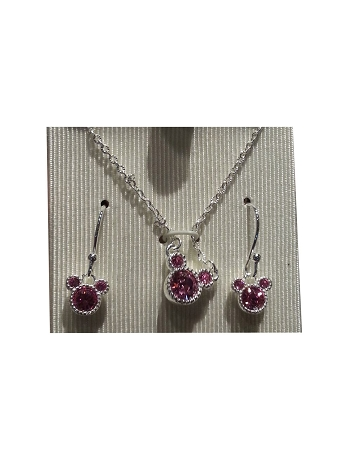 Disney Necklace and Earrings Set - Mickey Mouse Pendant Set - Pink