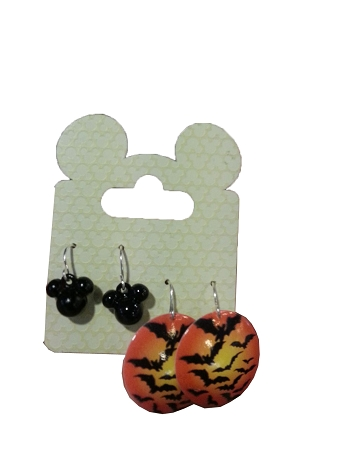 Disney Earrings Set - Halloween Bats and Mickey Icons - 2 Pairs