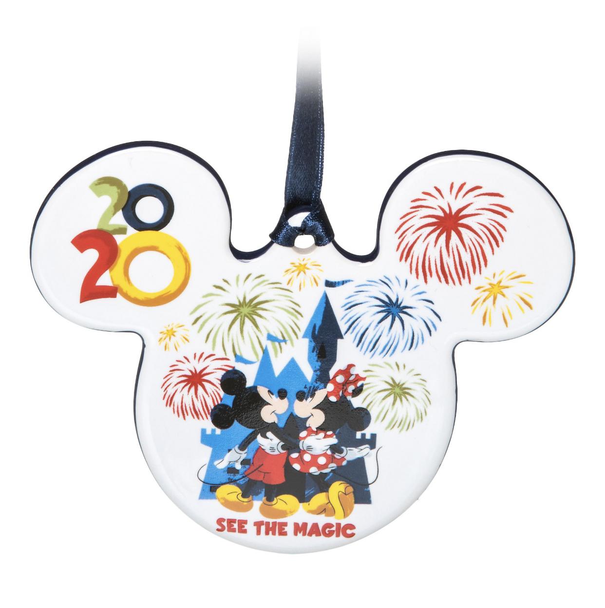 Disneyland  2020  Flat Disc Icon Mickey /& Minnie  Ornament  NEW
