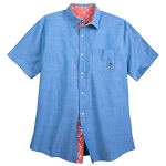 Disney Button Up Shirt for Men - Mickey Mouse Chambray - Blue