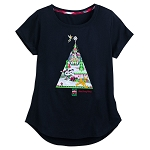 Disney T-Shirt for Women - Mickey and Friends Holiday Tree - Black