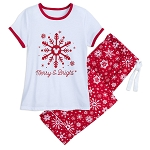 Disney Pajama Set for Women - Mickey Mouse Snowflake - Merry & Bright