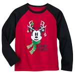 Disney Sleep T-Shirt for Boys - Mickey Mouse Holiday Reindeer