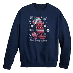 Disney Adult Sweatshirt - Santa Mickey Fair Isle Pullover - Blue