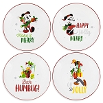 Disney Salad Plate Set - Santa Mickey and Friends Holiday - Set of 4