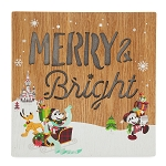 Disney Holiday Sign - Light Up Santa Mickey and Friends - Wood