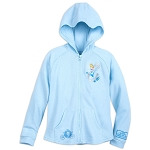 Disney Girls Zip Hoodie - Cinderella with Fantasyland Castle - Blue