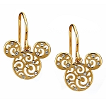 Disney Arribas Earrings - Mickey Mouse Filigree Icon - Gold