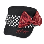 Disney Hat - Baseball Cap - Minnie Mouse Flat Top - Sequined Bow