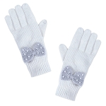 Disney Knit Gloves for Women - Minnie Mouse with Bow - White
