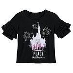 Disney Shirt for Girls - Cinderella Castle - My Happy Place - Black