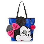 Disney Loungefly Tote Bag - Minnie Mouse Wink - Blue with Polka Dots