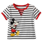 Disney Shirt for Girls - Mickey Mouse Striped - Black and White