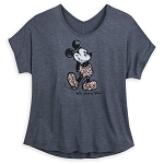 Disney Shirt for Women - Mickey Mouse Sequined - Rose Gold