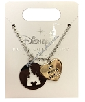 Disney Necklace - Cinderella Castle with My Happy Place Charm - Silver