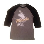 Disney Shirt for Women - Minnie Mouse Raglan Top - Gold Signature