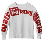Disney Pullover Top for Women - Walt Disney World Logo - Red & White