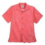 Disney Tommy Bahama Shirt for Men - Mickey Mouse Jacquard - Coral