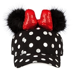 Disney Hat - Baseball Cap - Minnie Mouse Polka Dot Pom Pom - Black