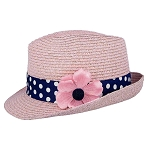 Disney Straw Fedora - Minnie Mouse with Flower - Youth