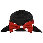 Disney Straw Fedora - Minnie Mouse with Bow - Youth