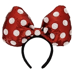 Disney Headband Hat - Minnie Mouse Polka Dots - Sequined - Large Bow