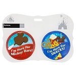 Disney Souvenir Button Set - Mickey Bars and Snacks - Set of 2
