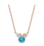 Disney Crislu Necklace for Kids - Minnie Mouse Birthstone - Rose Gold